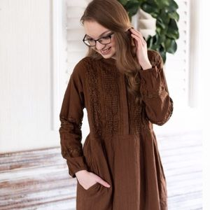 Brown Lace Midi Dress